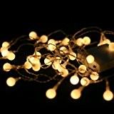 Qbis guirlande lumineuse led avec 40 petites boules sur cable transparent, indoor lumières de noël / éclairage, blanc doux
