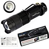Sidiou Group Mini torche LED 7W 300LM CREE Q5 LED Flashlight Mise au point réglable Zoom Flash Light Lamp