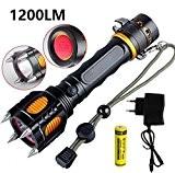 Smart Fun Tactique Defense Lampe de Poche CREE L2 10W 1200 Lumens 5 Modes Tête Sirène Lumière Chargeur de Batterie ...