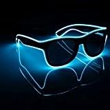 SOLMORE Lunettes Lumineuse LED EL Fil Néon 3 Mode d'Éclairage avec Contrôle Vocal Boîte de Batterie Décoration Guirlande Spéciale Déguisement ...