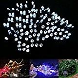 SUPTMAX Guirlande Lumineuse Solaire 300 LED 32 Mètres 8 Modèles Lampe Imperméable Lumières Décoratives à l'Extérieur et à l'Intérieur Jardin, ...