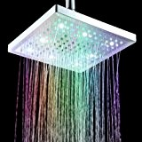 "Timetop 7 Colors Changing LED Shower Head Sprinkler /Douche d'arroseuse de tête8"" Square carré pommeau/La lumière change de couleur avec ..."
