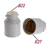 TOOGOO(R) 2X vis E27 a culot a baionnette B22 ampoule lampe adaptateur convertisseur Socket base