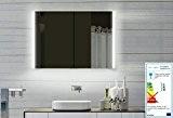 Top Design armoire de toilette avec cadre en aluminium miroir 100x70cm