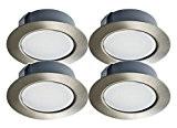Trango Lot de 4tgg4e-04X 12V AC/DC Spot LED encastrable pour remplacer traditionnelles G4Meubles Leuchten Cuisine Hottes Leuchten, etc. Acier inoxydable