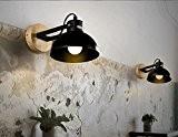 Wenseny Simplicité Bois Fer forgé Lampe de mur ( Ampoules non incluses ) Noir ( 1 Support de lampe )