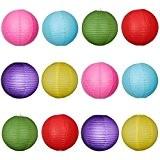 WINOMO 12pcs 10 Pouces Ronde Lanternes en Papier avec Fil Nervure 6 Couleurs Différentes