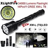 XLightFire Lampe de poche,Internet 34000 Lumens C15 Tactical LED 14 x XM-L T6 lampe de poche 18650 Super Bright militaire ...