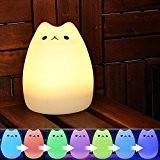 YOEEKU Cute Kitty LED Veilleuse pour enfant, Multicolor Lampe en Silicone Souple, Sensitive Contrôle du Robinet, Warm White & 7-Color ...