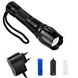 Zoweetek® Torche Lampe de poche Zoomable et Rechargeable avec 5 Modes, Super Lumineux CREE XM - L T6 LED Intensité ...