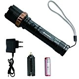 Zoweetek® Ultra Puissante Lampe de Poche LED Rechargeable Zoomable avec 5 Modes, Militaire torche Chargeur de batterie